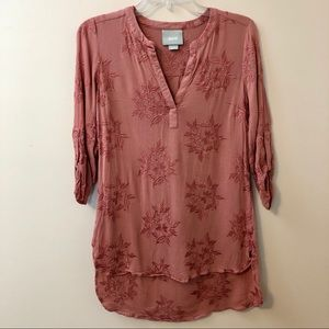 Anthropologie Maeve Kew Embroidered Floral Tunic